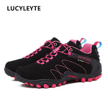 Women Hiking Shoes Man Waterproof Mountain Climbing Trekking Shoes Professional Breathable Outdoor Sneaker For Camping Travel недорого