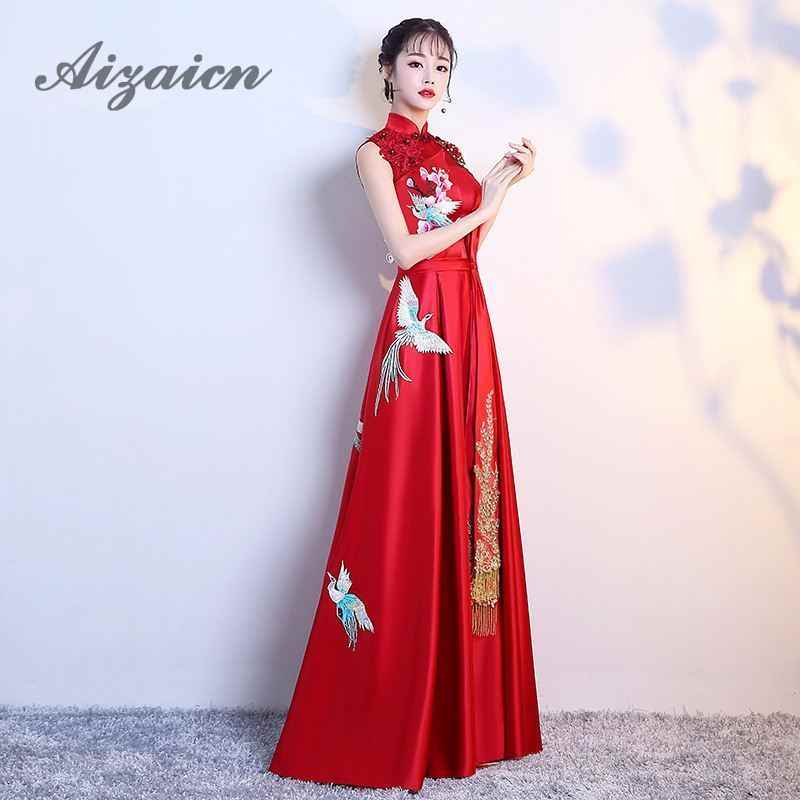 3262d492f84 ... Fashion Red Chinese Women Evening Dress Bride Oriental Wedding Gowns  Qipao Cheongsam Dress Chinese Traditional Clothing ...
