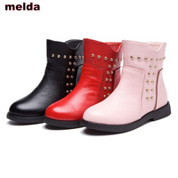 Size 26 37 2017 New Girl Winter Rivet Boots Children S Genuine Leather Boots Kids Fashion