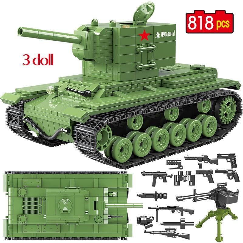818 PCS Military Soviet Russia KV 2 Tank Building Blocks tank City WW2 Soldier Police Weapon figures Bricks Toys for Boys
