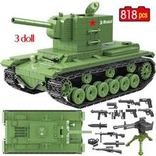 818 Uds., militar rusa KV 2, tanque de bloques de construcción, ciudad WW2, soldado, arma policial, figuras de bloques, juguetes para niños
