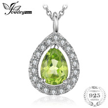 JewelryPalace Pear 1.5ct Natural Green Peridot Birthstone Solitaire Pendant Necklace 925 Sterling Silver 18 Inches fH0br5