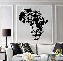 Autocollants muraux en vinyle avec appliques tigre, carte dafrique, autocollants artistiques pour chambre denfant, décoration intérieure pour salon, chambre à coucher, 2DT7
