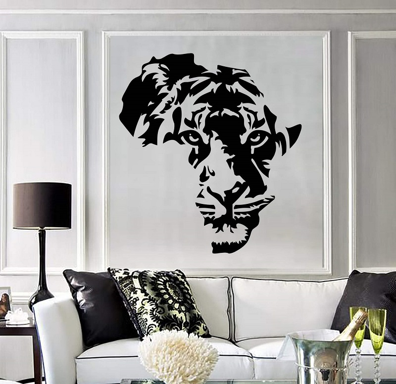 Vinyl applique tiger animal Africa map children's room wall stickers art stickers living room bedroom home decoration 2DT7-in Wall Stickers from Home & Garden