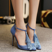 2016 New Fashion Tassel Sytle Thin High Heels font b Women b font Pumps Pointed Toe