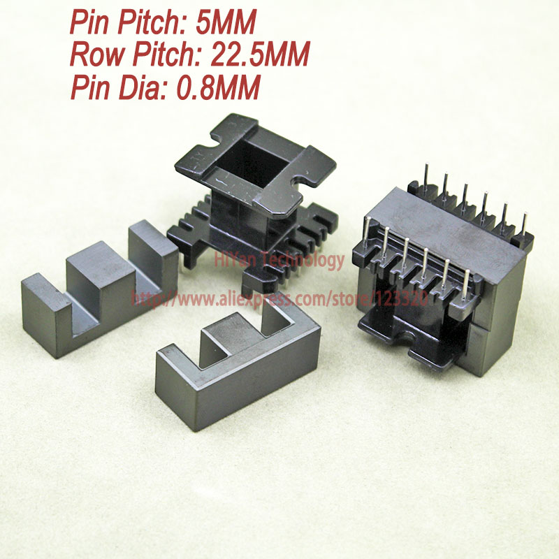 5sets/lot EE33 PC40 Ferrite Magnetic Core and 6 Pins + 6 Pins Top Entry Plastic Bobbin Customize Voltage Transformer 20sets lot ee16 pc40 ferrite magnetic core and 5 pins 5 pins side entry plastic bobbin customize voltage transformer