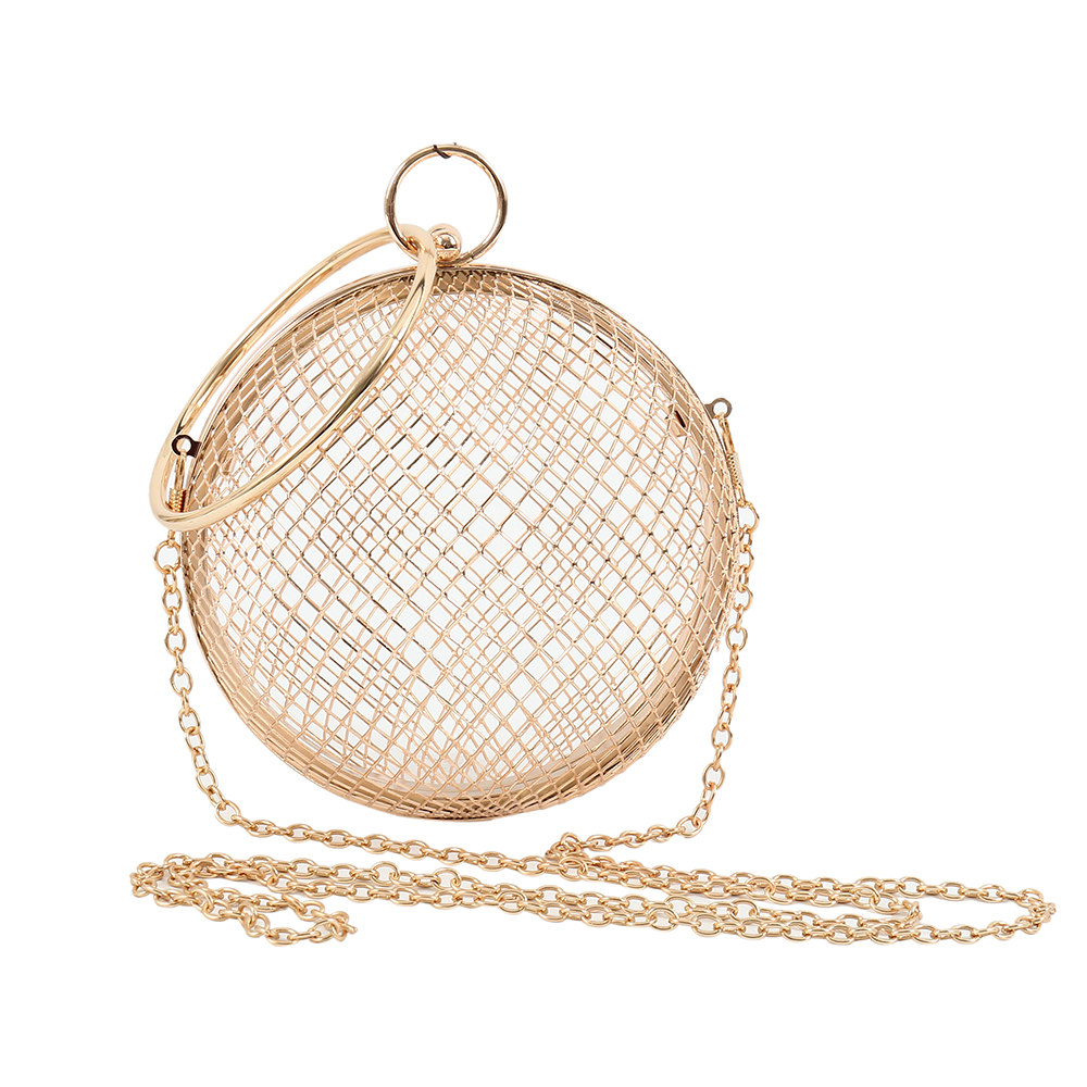 2019 Hollow Metal Ball Women Shoulder Bag Gold Cages Round Clutch Evening Ladies Luxury Wedding Party CrossBody Purse Handbag(China)