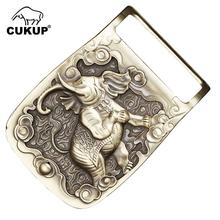 CUKUP Mens Unique Design Elephant Animal Pattern Brass Buckles Metal for 3.7-3.9cm Wide Belt Paties Cowboy Buckle Men BRK035