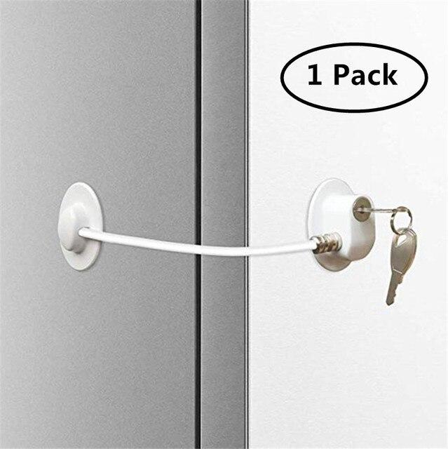 White Fridge Lock-1Pack Fridge Lock,Refrigerator Locks,Freezer Lock with Key for Child Safety,Locks to Lock Fridge and Cabinets