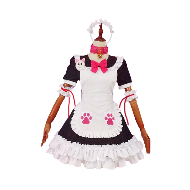 Anime FGO Fate Grand Order Tamamo no Mae maid outfit Cosplay costume with hair accessory Custom Made