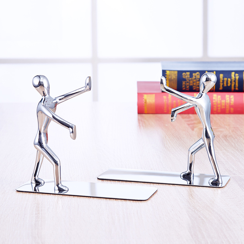 2 Pcs/pair Novelty Stainless Steel Zinc Alloy Double Bookend Bookshelf Cute Kawaii Metal Book Bright Bookend Stationery Tool Invigorating Blood Circulation And Stopping Pains Bookends Office & School Supplies