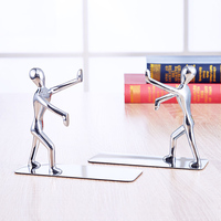 2 pcs/pair Novelty Stainless Steel Zinc Alloy Double Bookend Bookshelf Cute Kawaii Metal Book Bright Bookend Stationery Tool