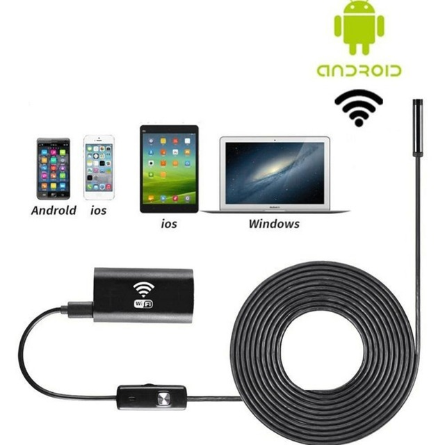 Wifi Wireless For iOS Android Endoscope 2.0MP 8mm 5M 6LED Waterproof mini Camera