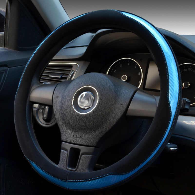 Углеродное волокно кожаное рулевое колесо крышка универсальный автомобильный чехол с ручками 4 вида цветов на выбор для диаметр 35/36/37/38/39/40 см