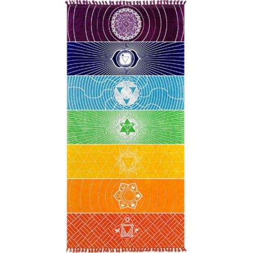 1Pcs Tassels Single Rainbow Chakra Yoga Mat Tapestry 3