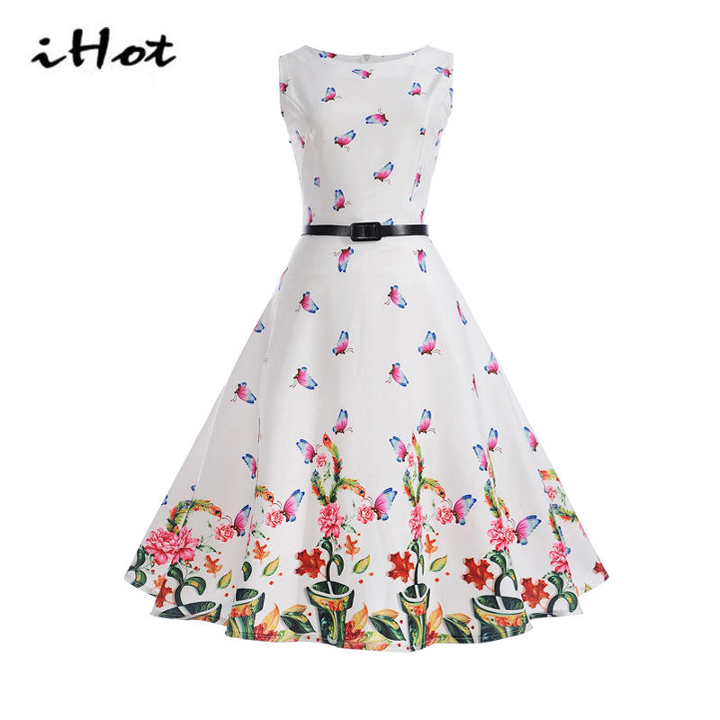 Wonderful's store  IHOT vintage clothing Women Summer Sleeveless Rockabilly pin up Flower butterfly print dresses female 2017 vestido de festa