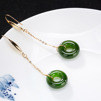 Authenic 100% 925 Sterling Silver Inlaid Natural Hetian Jade Safety Button Lady High-grade Top Hat Ear Earrings Wholesale