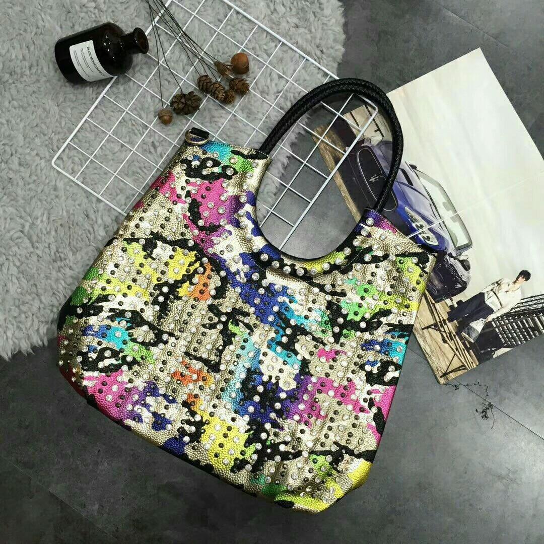 Luxury fashion diamonds encrusted Women handbags trend female genuine leather shoulder bag rhinestone messenger crossbody bags
