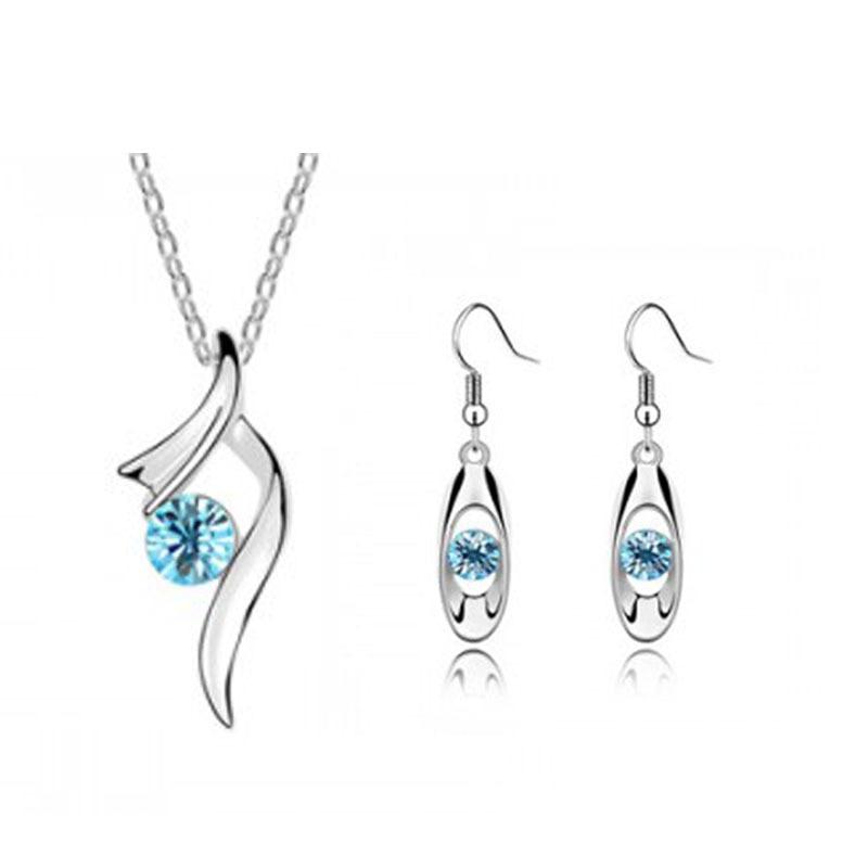 Minimalist fashion jewelry earrings + pendant piece suit set wholesale 008+047