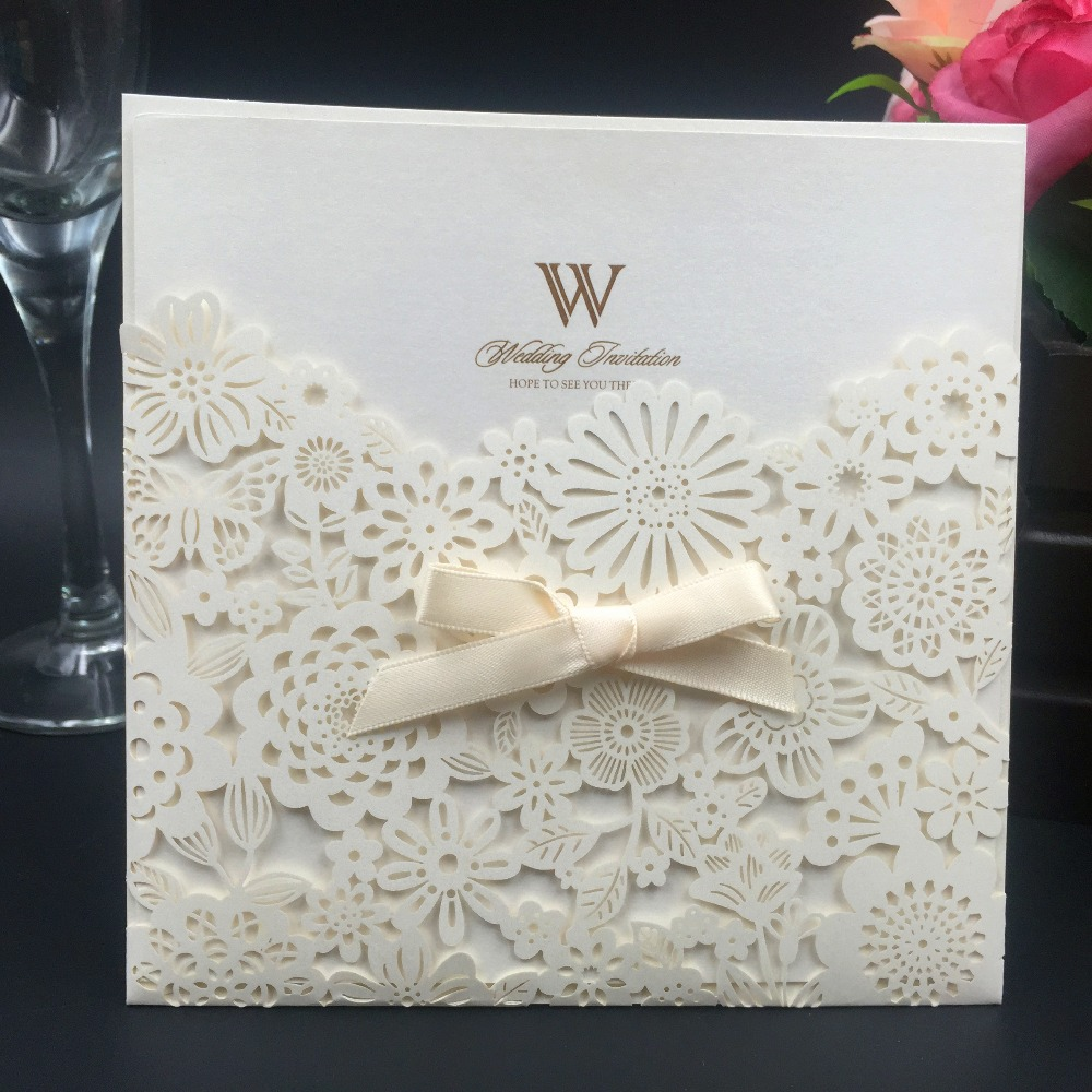 12pcs Ivory laser cut Wedding Invitations Cards vintage wedding cards girl happy birthday cards Envelope Flowers Greeting Cards