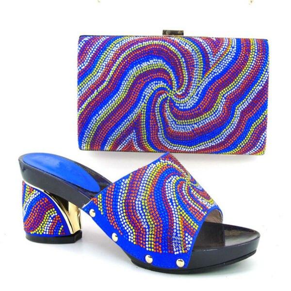 ФОТО Shoes and Bag Set Elegant Italian Shoes and Bag Set Wedding Shoe and Bag High Heels Summer African Shoes blue 37-43