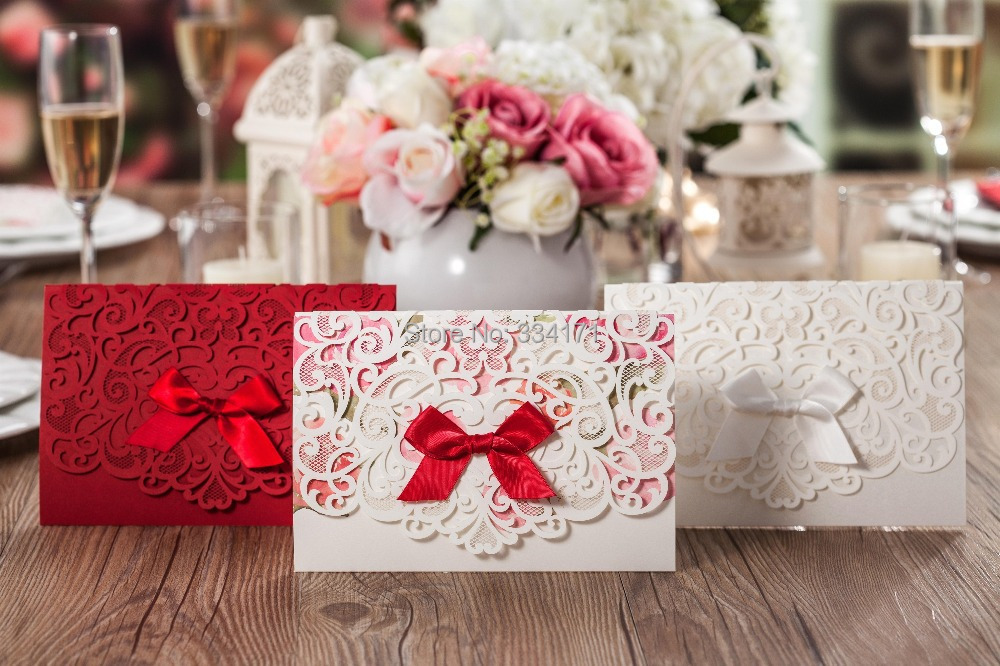 2015 newly arrival 50pcs/set free envelop and free seal Elegant laser cut with ribbon Wedding ...