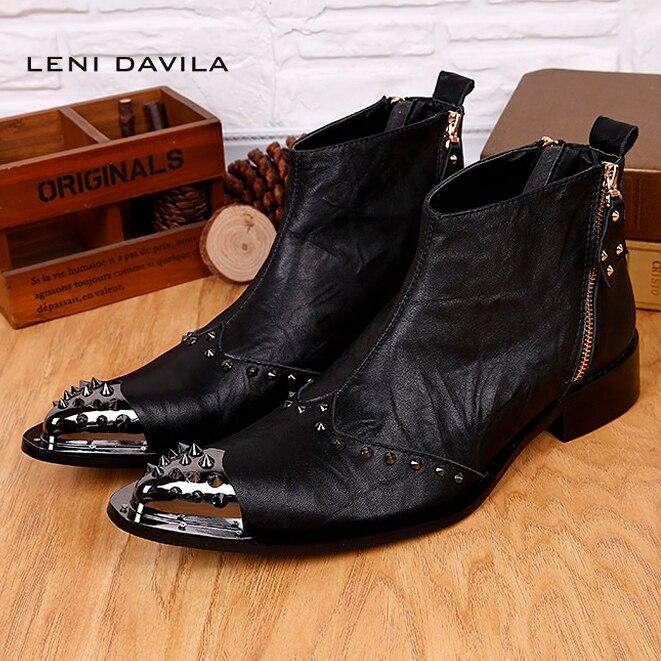 LENI DAVILA New vintage Men's fashion Rivets business Ankle boots Pointed Toe Full Grain Leather cowboy Western boots for men талалаева е ред что такое искусство