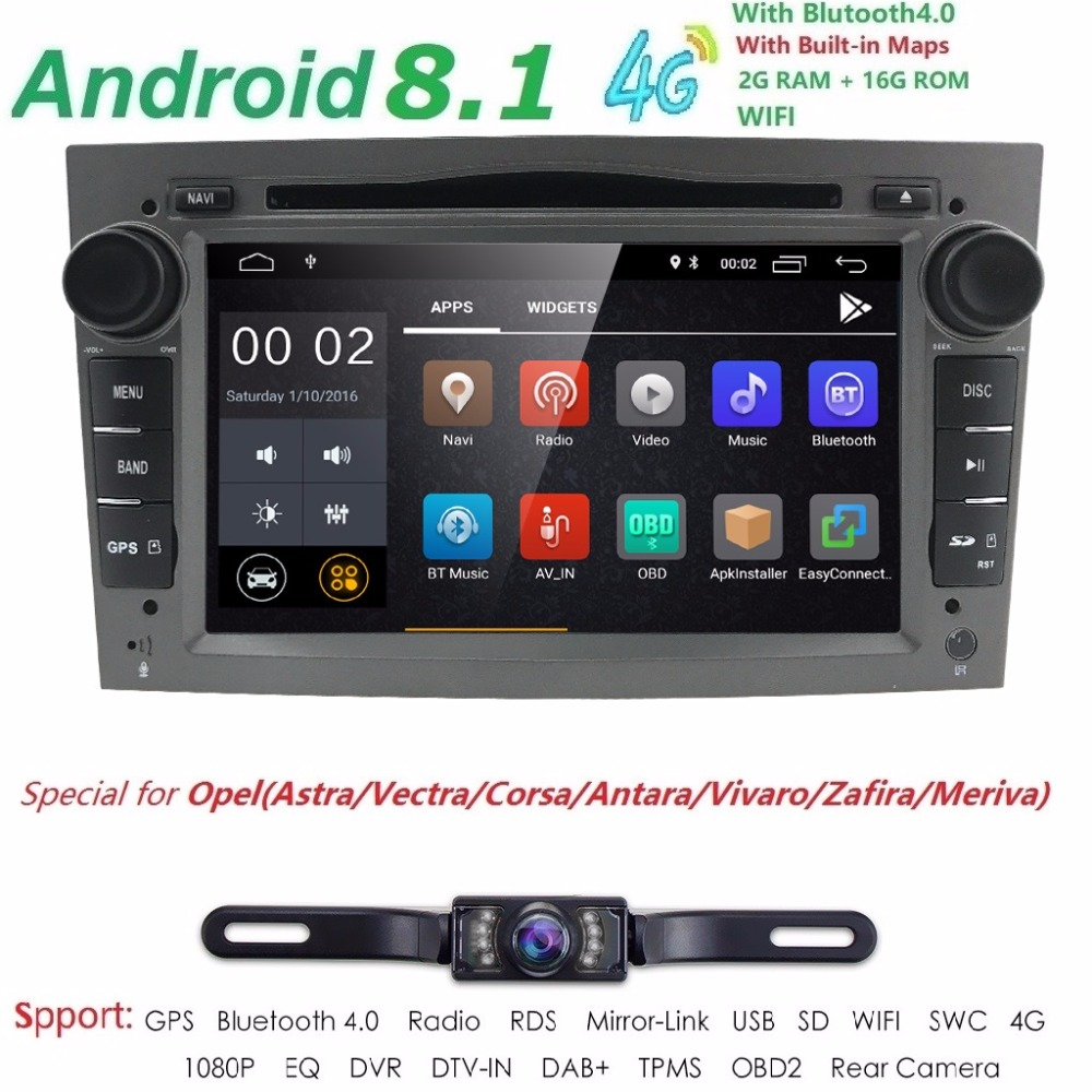 HD 1024*600 4 QuadCore 2din Android 8,1 reproductor de DVD del coche para Opel Corsa Vectra C D Meriva Vivaro tigra Radio GPS Navi 4G 2G + 16G DAB