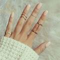 Punk Crystal Stacking Rings Midi Rings Leaf Finger Knuckle Ring Gold Plated Women Ring Set For Jewelry Women Anillo Jewelry Anel