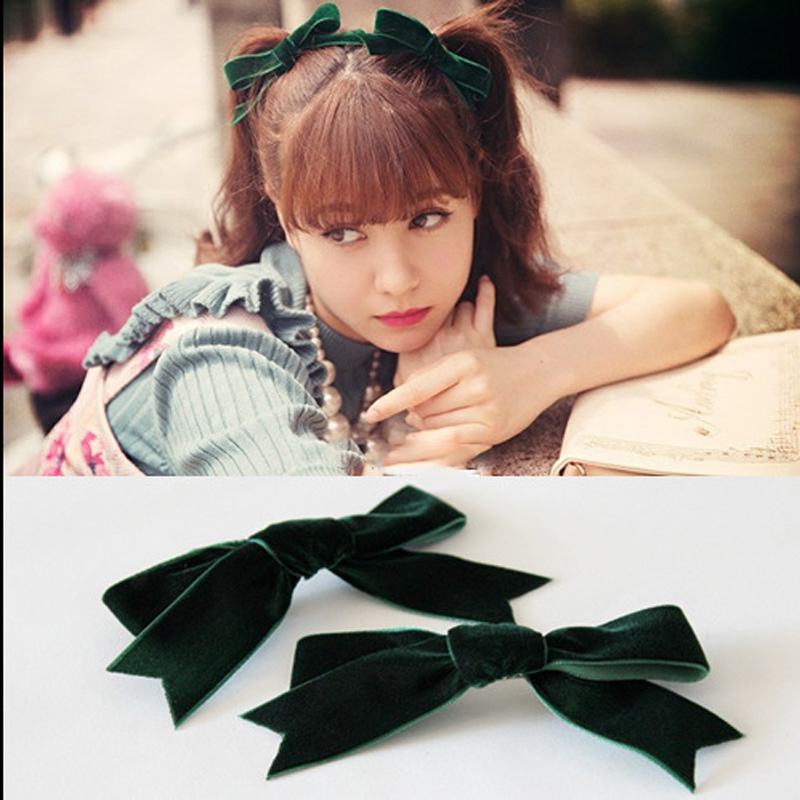 Women's Hair clips Hairpin New Ladies Velvet Bow hairpins Girl's Cute Lovely Solid Headwear Korea Hair Accessories 2pcs