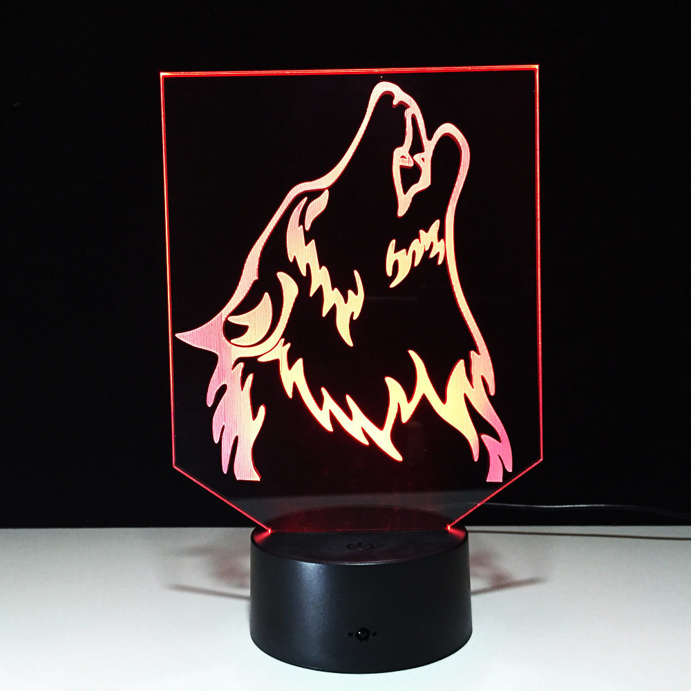 Novelty Wolf 3D Lamp Night Light Power Bank USB LED Lamparas Wireless Table Desk Home Lamp 7 Color Change Free Drop Shipping