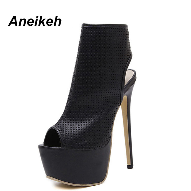 Aneikeh Summer Women Sandals Pumps Shoes Peep Toe Sexy High Heels Gladiator Sandals  Women Slingback Ankle Boots Size 35-40 63445ce06e47