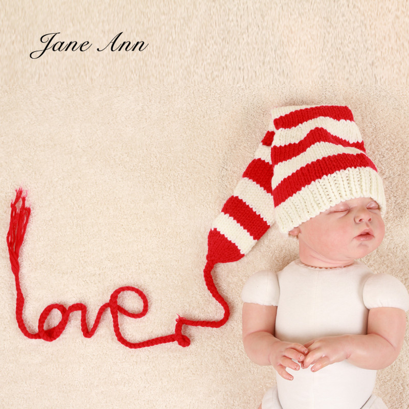 Jane Z Ann Novorozenec fotka rekvizity dítě láska klobouk háčkování bavlna příze bílá červená pruhované dlouhé ocasní klobouk atrezo fotografia