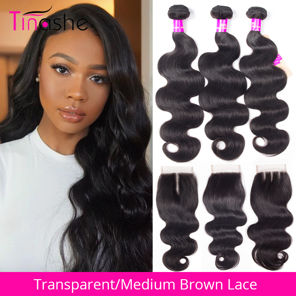 Tinashe Hair Body Wave Bundles With Closure HD Transparent Lace Closure Remy Brazilian Human Hair 3 Bundles With Closure