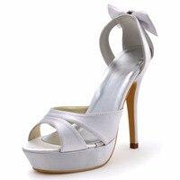 EP2120-PF Femmes Pompes Blanc Sandales Peep Orteils Soirée Parti Cut-outs Plate-Forme Chaussures Arc Strass De Mariée En Satin De Mariée Chaussures