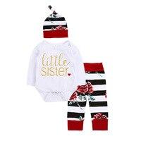 3PCS Set Little Sister Newborn Romper Set Cotton Baby Girl Clothing Baby Romper Tops Floral Pant