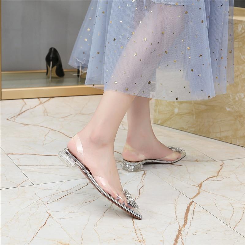 HTB1wFT4bwaH3KVjSZFpq6zhKpXa2 Women's high heel sandals 2019 summer new pointed low heel rhinestone decorative sandals 42 large size jelly shoes