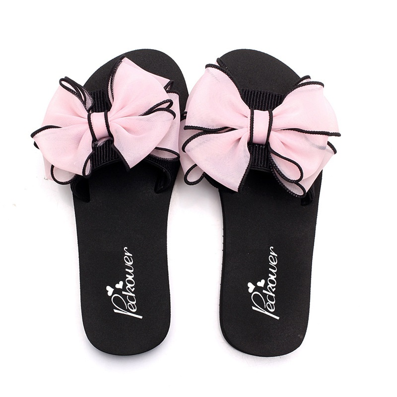 Women Shoes Pink Bow Beach Slippers Women Outdoor Slippers Woman House Pantoffels Slipper Womans Shoes beach house paris