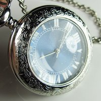 2010 New Silver Plated Half Hunter Fob Pocket Watch Magnifier Freeship