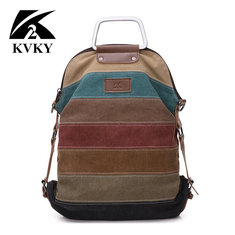 Kvky Ethnic Rainbow Women's Canvas Backpack Ladies Striped Multifunction Patchwork Rucksack Crossbody School Bolsas Mochila B842