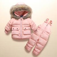 Kids Winter Clothes Suits Real Raccoon Fur Infant Baby Snowsuit for Little Boys Girls 2Pcs Down Coat+Overalls Pants Thick Parkas