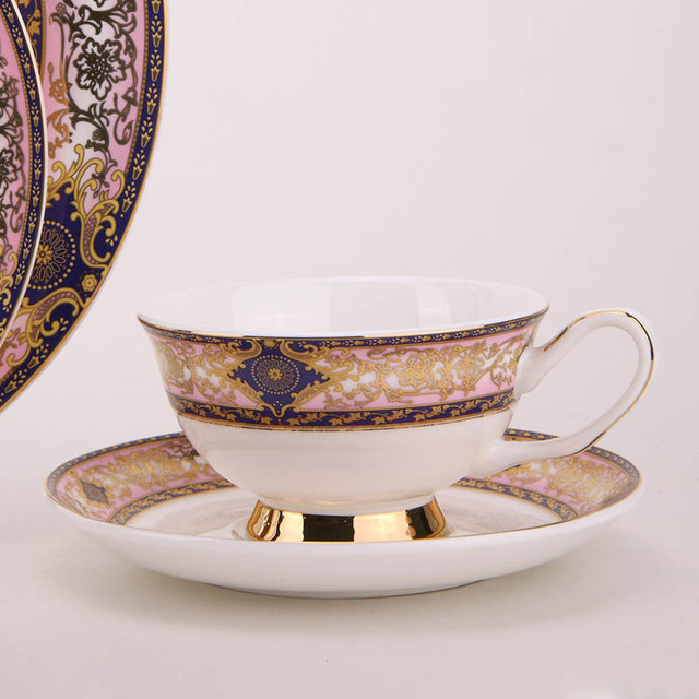 Bone China Western Food Steak Plate Ceramic Cake Dish And Afternoon Black Tea Cups With Saucers Porcelain