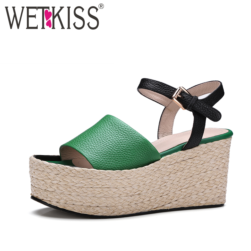 ФОТО WETKISS 2017 Genuine Leather Women Shoes High Straw Weave Wedges Platform Women Sandals Ankle Strap Sexy Open toe Summer Shoes