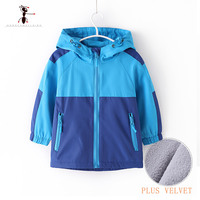 Kung Fu Ant Brand Autumn Winter Waterproof Blue Yellow Keep Warm Boys Hooded Jacket Children Famous Plush Outdoor Sports Top