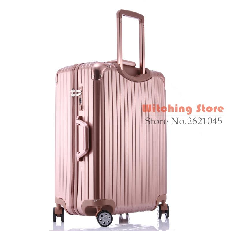 Luggage & Bags Creative New Aluminum Frame Rolling Luggage High Quality Pc Travel Suitcase Hardside Carry On Boarding Luggage Trolley Bag 2024 Inch By Scientific Process
