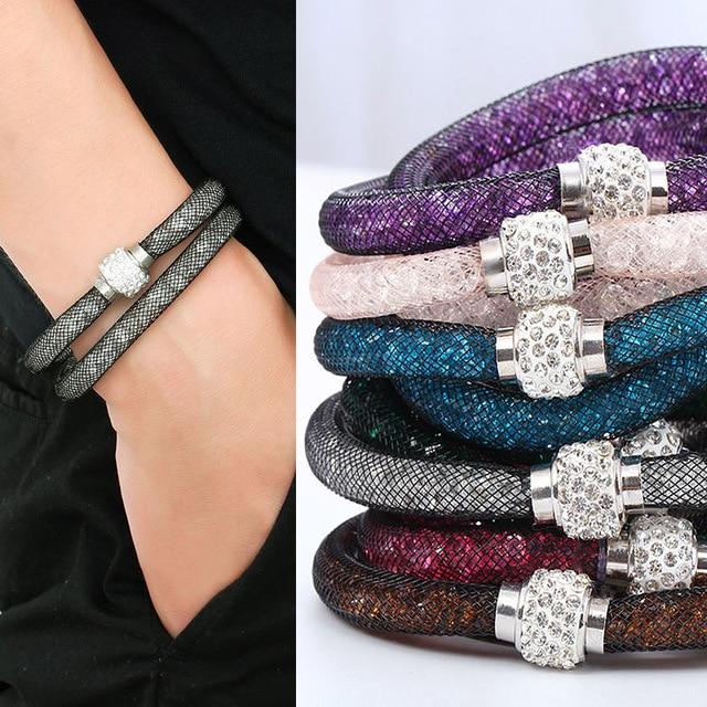 Fashion Jewelry Handmade Bracelets Women Charm Rhinestone Double Mesh Full Cryst