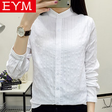 100% Cotton Shirt White Blouse Women 2018 New Spring Autumn Blouses Shirts Women Long Sleeve Casual Tops Simple Solid Blusas(China)