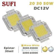 Светодиодный прожектор 12 В постоянного тока, 20 Вт, 30 Вт, 50 Вт, белый, теплый белый, светодиодный чип 20, 30, 50 Вт для Светодиодный одного прожекто...