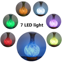 3D Glass Air Humidifier Ultrasonic Aromatherapy Essential Oil diffuser Aroma 7 Color LED Night Light Atomization Purifier Vase