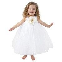 2016 Flowers Baby Girl Straps Tutu Dress Girl Wedding Birthday Party Toddler Baby Princess Dress Pageants